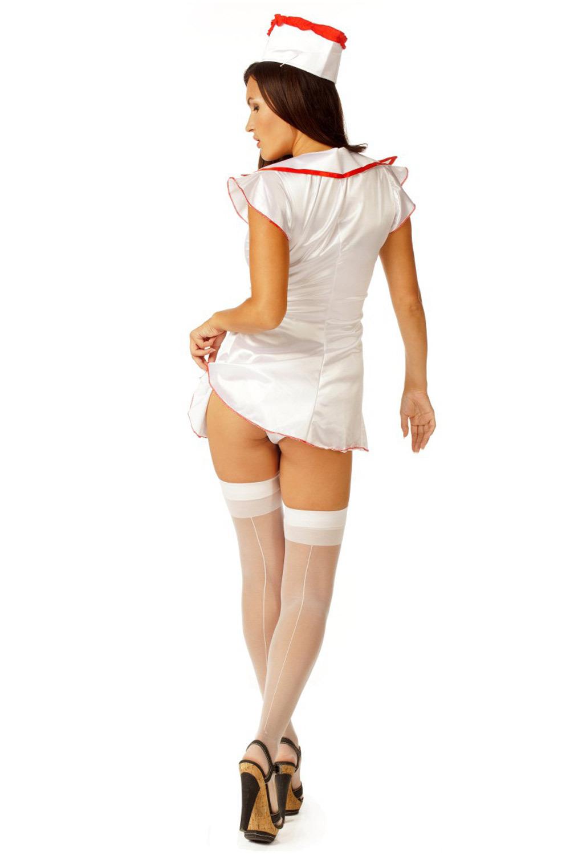 Атласный костюм медсестры для эротических игр