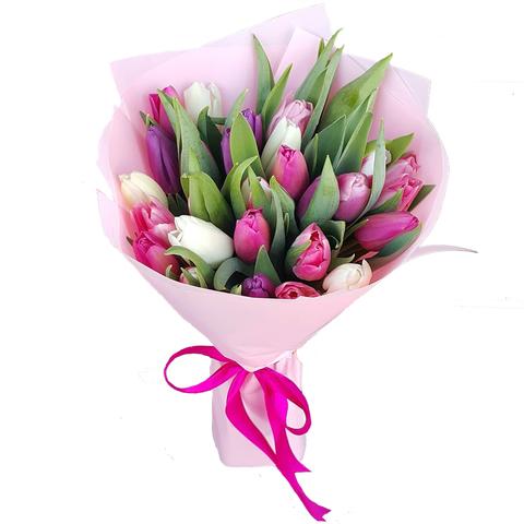 Букет из 29 микс тюльпанов 3