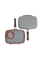 Сковорода - гриль DARIIS 34х24 см двусторонний литой Гранит серый ILAG PREMIUM Турция HUR-A-15323