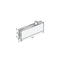 FS-F30 SSS (AISI 304) Фитинг фрамуги верхний для стеклянных дверей толщиной 10, 12 мм. Notedo