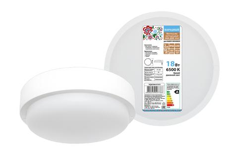 Светодиодный светильник LED ДПП 3901 18Вт 6500К IP65 белый круг 174*62 мм Народный