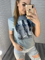 голубая футболка с принтом nadya