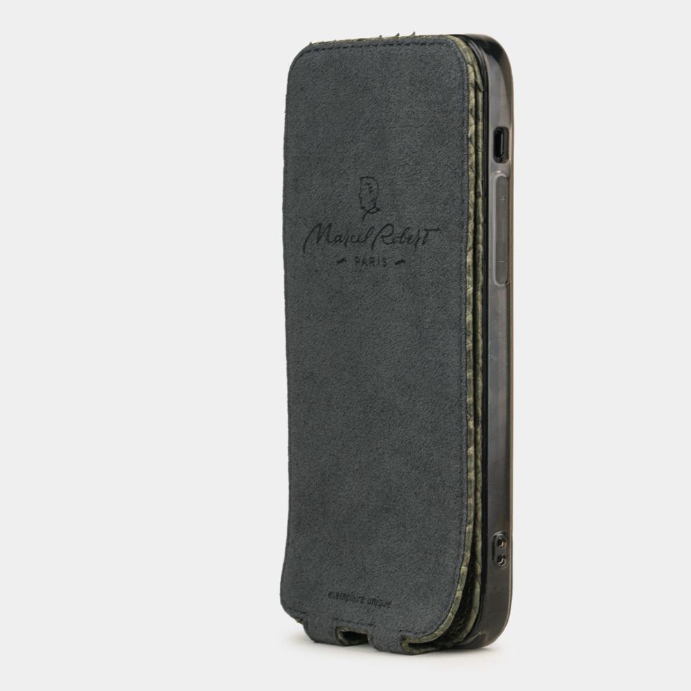 Чехол для iPhone 12 Mini из натуральной кожи питона, зеленого цвета