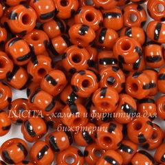 93490 Бисер 4/0 Preciosa непрозрачный, красный с черными полосками