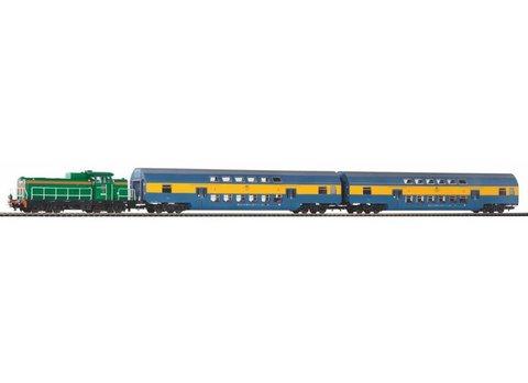 Стартовый набор «Пассажирский состав с тепловозом SP42 и двумя двухэтажными вагонами»PKP V