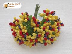 Тычинки в букете разноцветные желтые