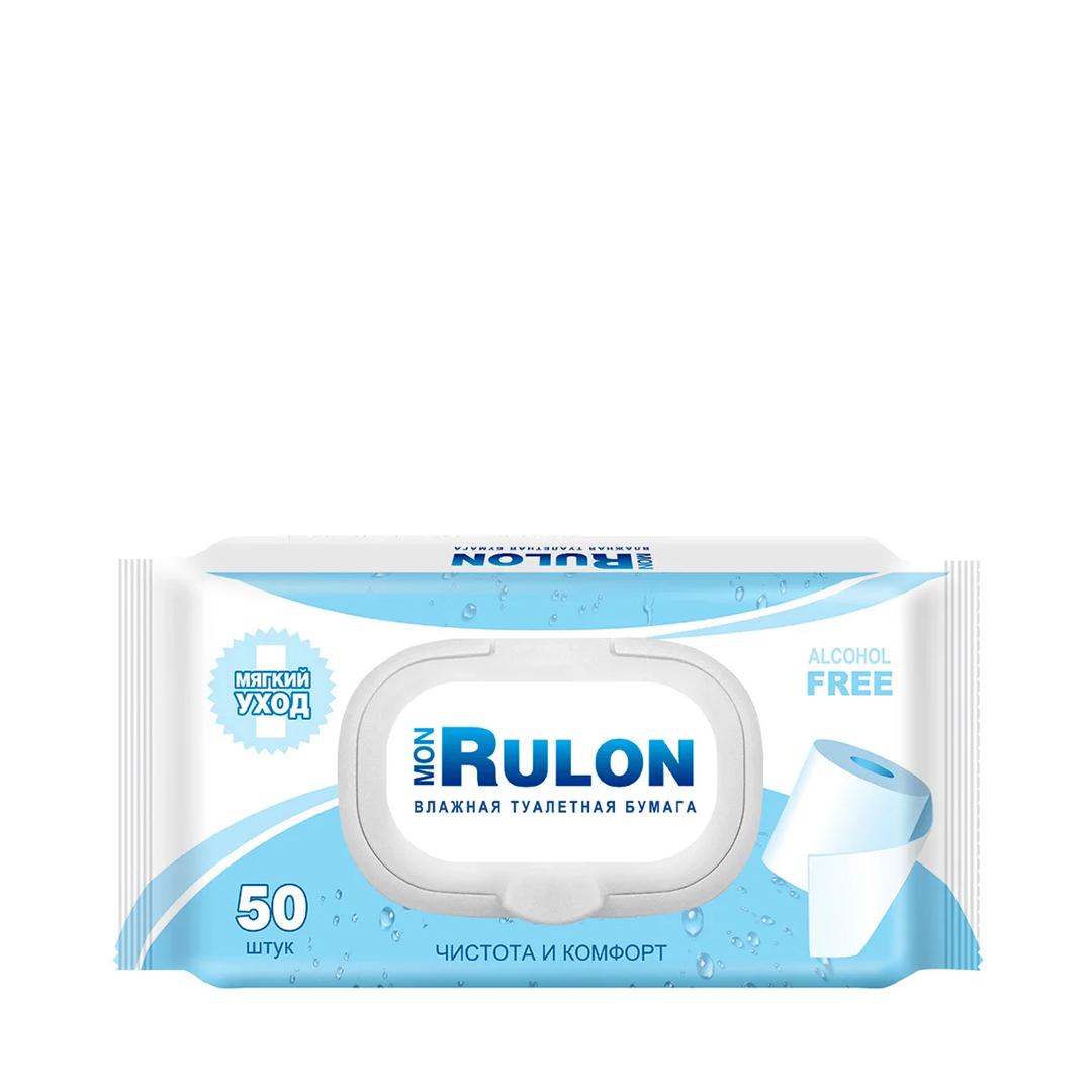 MON RULON Влажная туалетная бумага c пластиковым клапаном 50шт