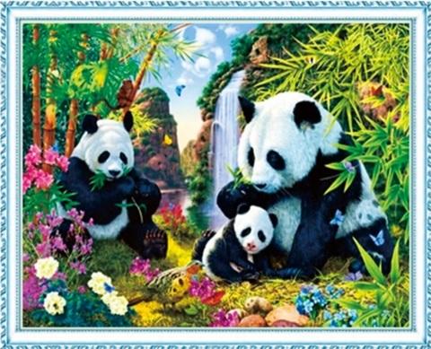 Алмазная Мозаика 40x50 Яркое семейство панд (арт. MGL8032 )
