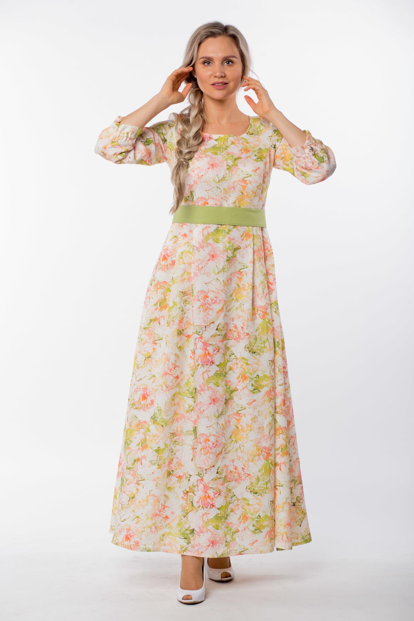 Платье льняное Цветущий шиповник