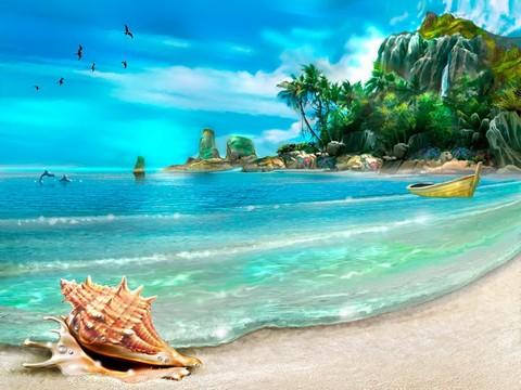 Картина раскраска по номерам 50x65 Ракушка на берегу океана