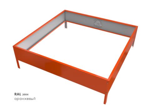 Клумба квадратная оцинкованная 1 ярус  RAL 2004 Оранжевый