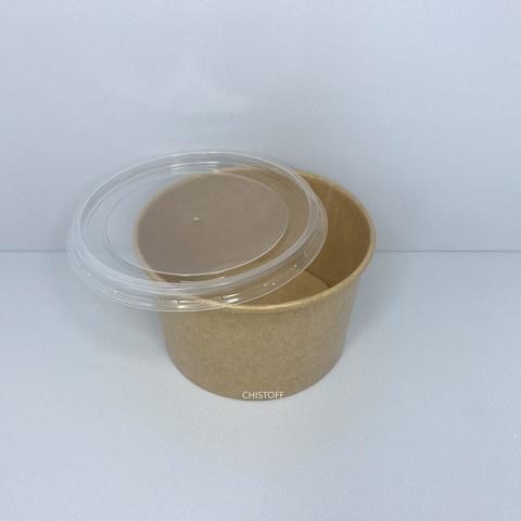 Бумажный контейнер (супник) 470 мл 16oz крафт + крышка Ø111хРАР 16OZ PP