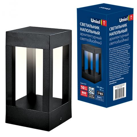 ULU-T03A-10W/3000K IP65 BLACK Светильник светодиодный уличный. Архитектурный напольный. Теплый белый свет (3000K). Корпус серый. TM Uniel.