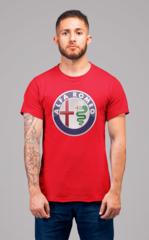 Мужская футболка с принтом Альфа Ромео (Alfa Romeo) красная 001