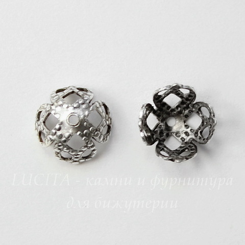Винтажный декоративный элемент - шапочка филигранная 7х4 мм (оксид серебра) (5)