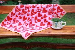 Одеяло, KLIPPAN, Сердечки, Эко-шерсть, Красный и розовый, 65 х 90 см