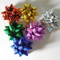 Бант-звезда Голография Ассорти, 5х5 см, 12 шт.