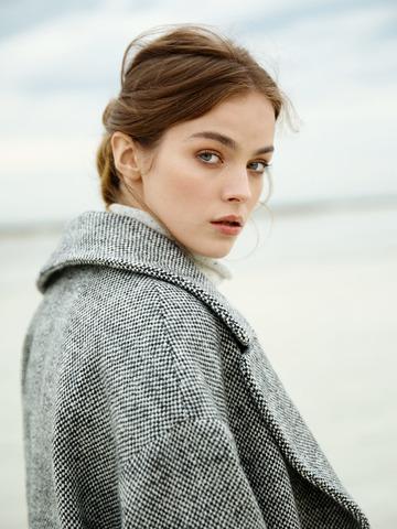 Пальто из шерсти Max Mara черный/белый