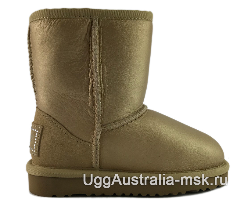 UGG Kids Classic Short Metallic Soft Gold