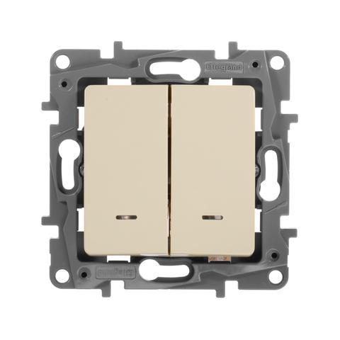 Переключатель двухклавишный с подсветкой 10 AX - 250 В~. Цвет Слоновая кость. Legrand Etika (Легранд Этика). 672316