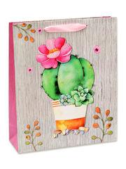Пакет подарочный Dream Cards с матовой ламинацией 26.4х32.7х13.6 Милый кактус плотность 210гр