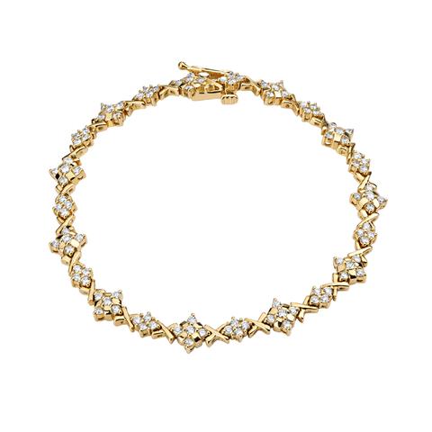 01Б640154- Браслет  из желтого золота 750 пробы с бриллиантами