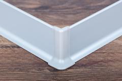 Плинтус алюминиевый анодированный 60 мм х 3 м. Матовое серебро