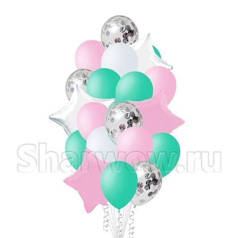 Букет шаров в пастельных цветах - розовый, мятный, белый, серебро