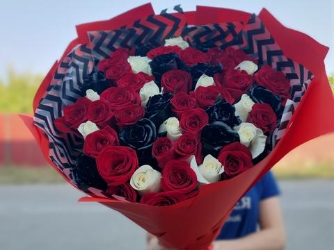 Букет из 51 розы -трехцветная