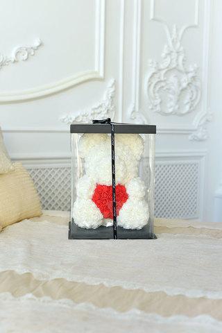 Коробка подарочная для Мишки из Роз, черная (30*18*18) WoW Эффект