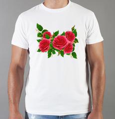 Футболка с принтом Цветы (Розы) белая 0016