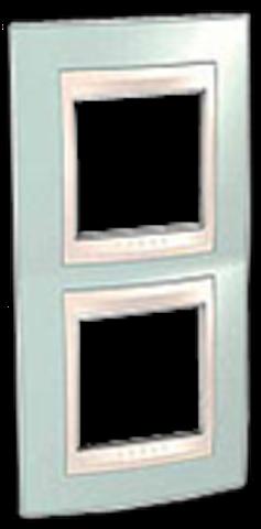 Рамка на 2 поста. Цвет вертикальная Морская волна/бежевый. Schneider electric Unica Хамелеон. MGU6.004V.570