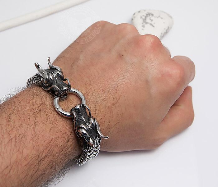 BM475 Тяжелый стальной браслет с драконами (22 см) фото 07