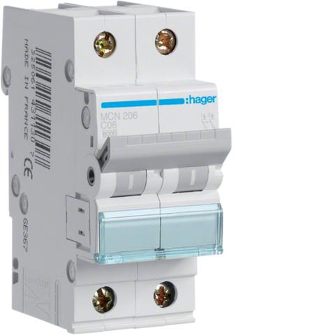 Автоматический выключатель 2P, C-6A, 6kA