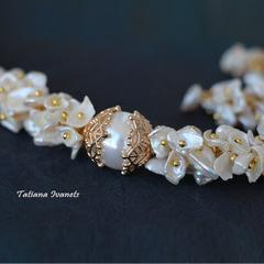 Свадебный комплект украшений из жемчуга кейши