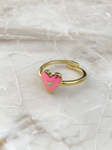 Кольцо из позолоченного серебра с розовым сердечком