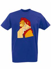 Футболка с принтом мультфильма Король лев (The Lion King, Симба, Нала) синяя 0016