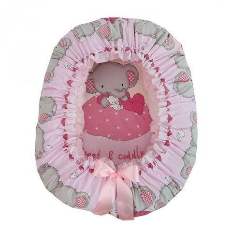 """Подушка-валик гнездо """"Слоник Боня"""" (розовый)"""