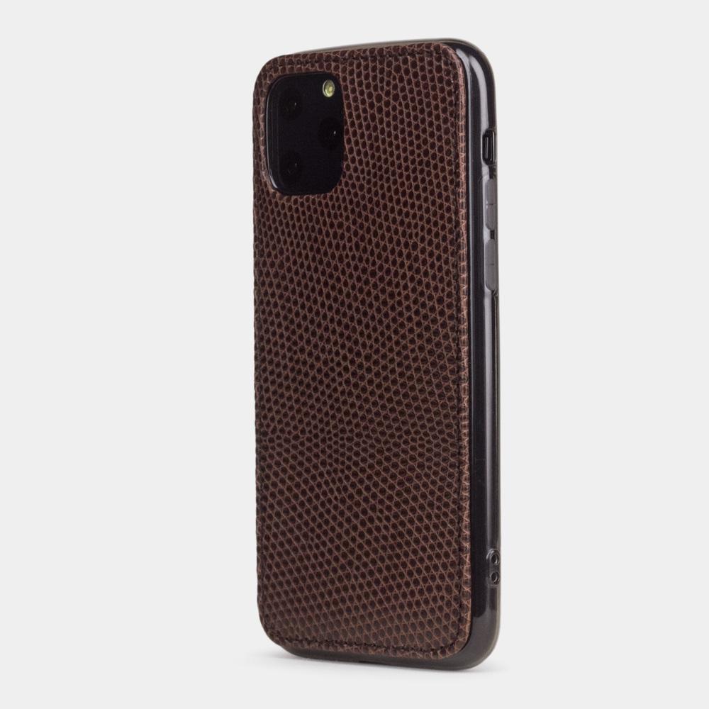 Special order: Чехол-накладка для iPhone 11 Pro из натуральной кожи ящерицы, коричневого цвета
