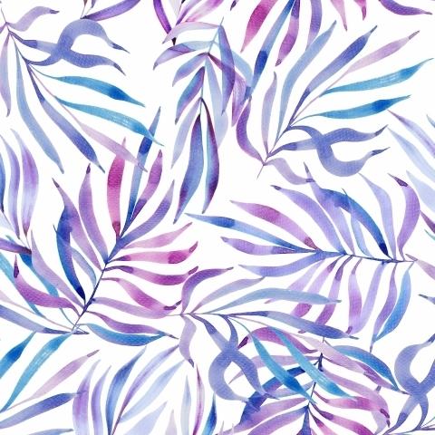 Лиловые листья акварелью на белом