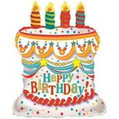 Торт С Днем рождения, Белый, 28''/71 см, CTI, 1 шт.