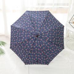 Женский зонт-трость, ручка-крюк, 8 спиц Yoco (Япония) синий принт- вишенки