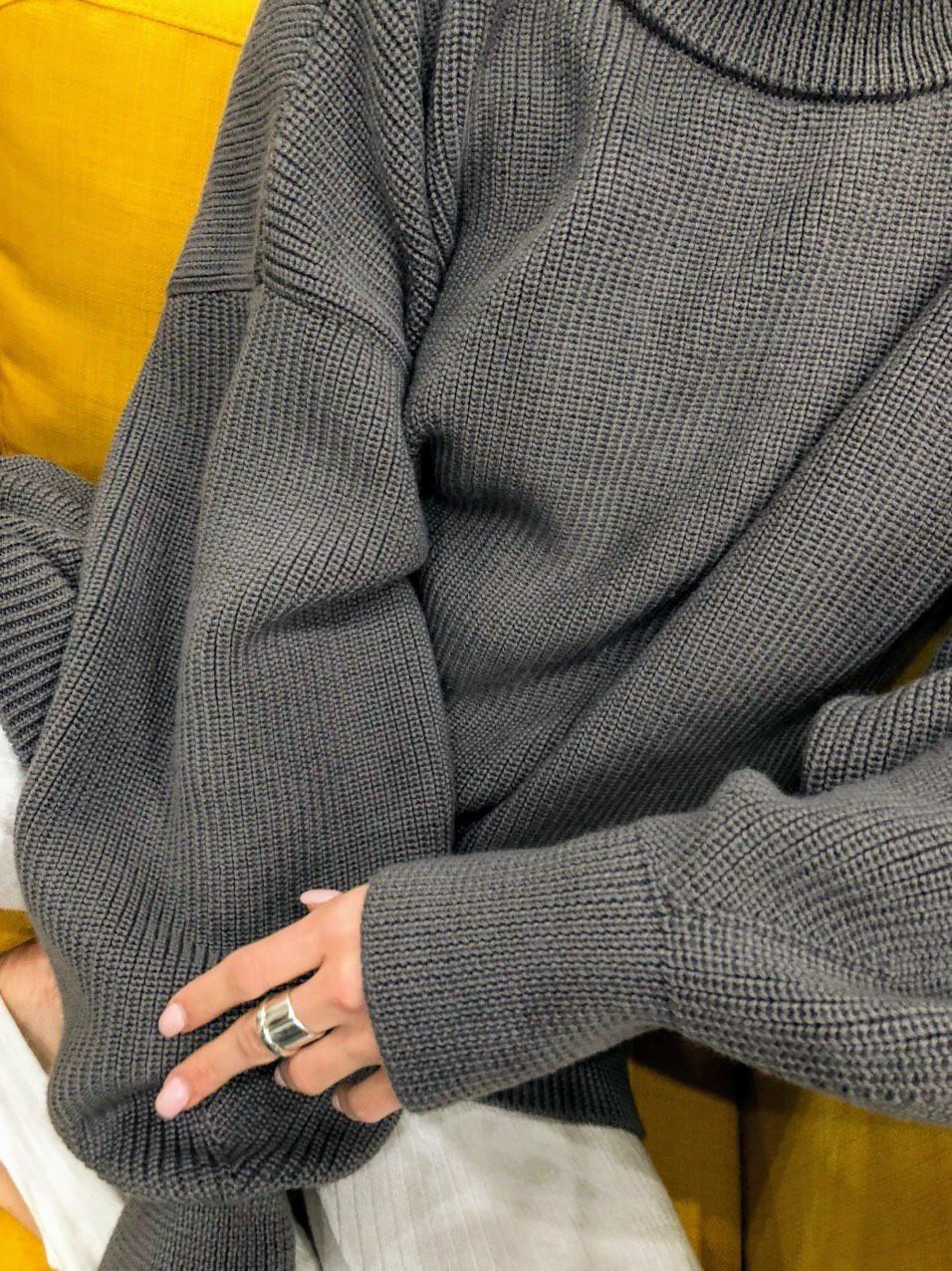 Вязаный свитер меринос, графит