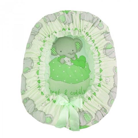 """Подушка-валик гнездо """"Слоник Боня"""" (зеленый)"""
