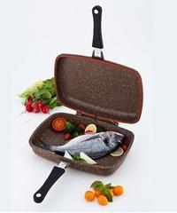 Сковорода - гриль DARIIS 34х24 см двусторонний литой Гранит коричневый браун ILAG PREMIUM Турция HUR-A-15200