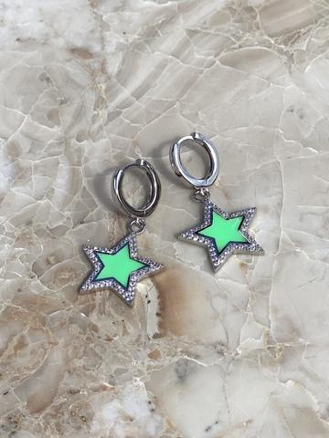Серьги Стелла из серебра, светло-зеленая эмаль