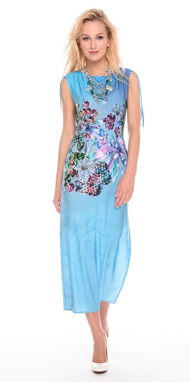 Платье З195-433 - Элегантное длинное платье из легкой, струящейся ткани. Цветочный принт в районе талии, скроет возможные недостатки. Плечи присборены шнурком, на талии  так же есть пояс-шнурок, который можно завязать как спереди так и сзади. Отлично подойдет для праздничных мероприятий и летнего отдыха.