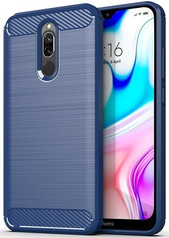 Чехол Xiaomi Redmi 8 цвет Blue (синий), серия Carbon, Caseport