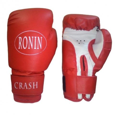F121Кр(10) Перчатки бокc RONIN Crash 10унц.красные, специальный PU, на липучке (Рон) (F121 CRASH)