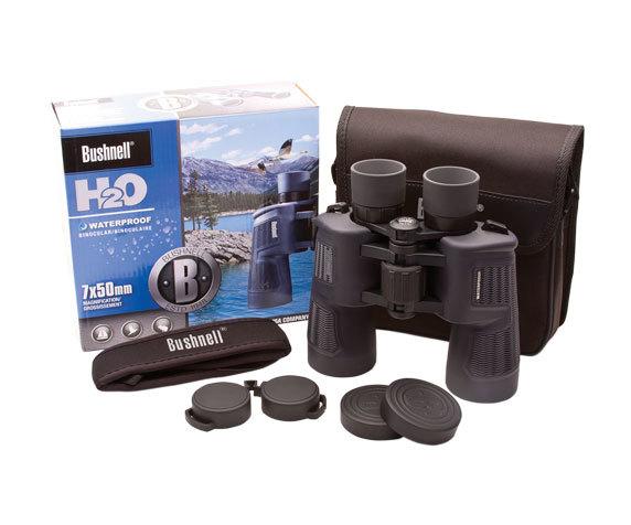 Комплект Bushnell H2O 7x 50: бинокль, ремень, крышки.